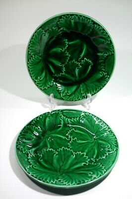Pair of Antique French Majolica Vine Leaf Plates by France by Rigal & Sanejouand