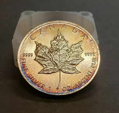 1999 $5 CANADA 1 oz .9999 SILVER MAPLE LEAF * ALBUM RAINBOW TONING! Lot#L976