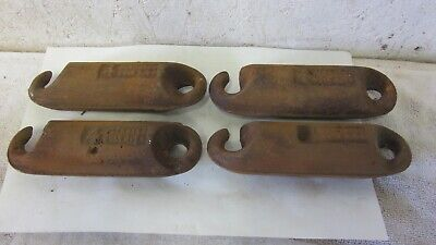 4 Antique Cast Iron 4 lb Window Sash Weights Salvaged Architectural Hook & Eye