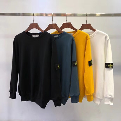 New Men Stone Island Round neck sweater Sleeve black logo Lovers Casual top