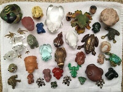 Mixed Lot Of Decorative Frogs | Multiple Textiles - Glass, Ceramic, Stone, Metal