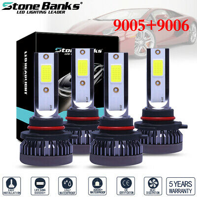 4pcs 9005 9006 Mini Ultra-light 120W 26000LM 6000K LED Headlight High Low Bulbs