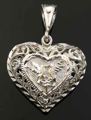Vintage Sterling Silver Heart Love Floral Scroll Love Birds Two Sided Pendant