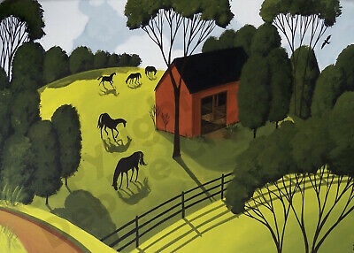 Giclee ACEO print folk art horse play running pasture red barn country landscape