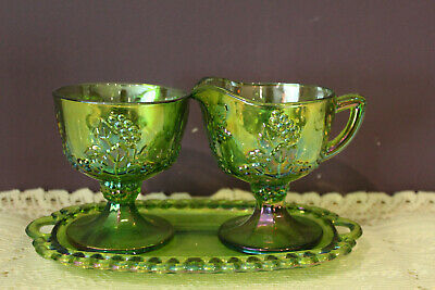 Indiana Green Iridescent Carnival Glass 3 Pc. Harvest Cream Sugar Tray