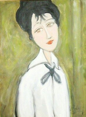 Lady Wearing A White Blouse Original Oil Painting 18 x 24 in. Modern Stylized