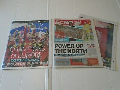 2 X Liverpool F/C Echo - 40 Page Champions League Special Edition & Giant Poster