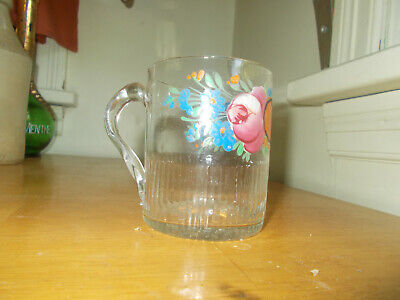 """1840s PONTILED HAND BLOWN FLINT GLASS RIBBED MUG """"REMEMBER ME"""" PAINTED FLOWERS"""