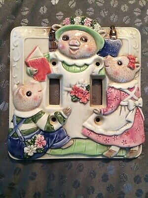 Takahashi Piggy 3 Little Pigs Light Switch Cover Plate Japan Vintage Lightswitch