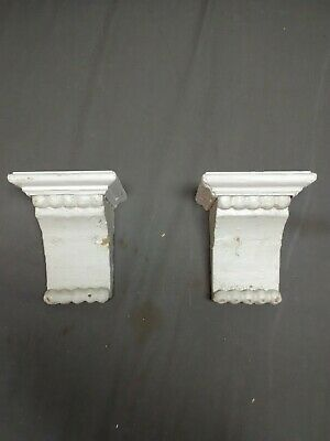 Small Pair Antique Wood Corbels Shabby Cottage Chic Vintage 13-19R