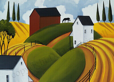 ACEO giclee art print Landscape country naive moon Autumn red barn horse Fall DC
