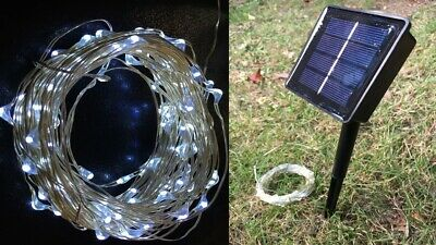 100 LED WHITE Lightweight 10m Solar String Fairy Lights with 8 modes!