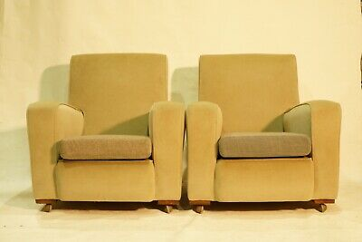Pair of Art Deco Armchairs, Club Chairs, Cocktail Chairs. 1920s Vintage Antique.