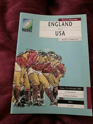 1991-England V Usa-United States-11/10/91-World Cup Pool 1-Rugby Union Programme