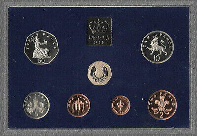 Great Britain 1982 Proof Coin Set Some Toning In Case