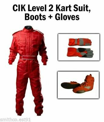 Karting Package RED - CIK Kart Suit Gloves Boots ADULT pro kart