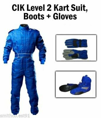 Karting Package BLUE - CIK Kart Suit Gloves Boots ADULT pro kart