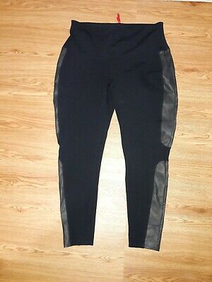 Spanx Faux Leather Panel Ponte Black Leggings 10701 Size Medium