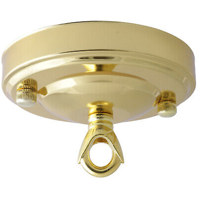 Vintage Ceiling Rose In Polished Brass Finish 106mm Dia with Chain Loop