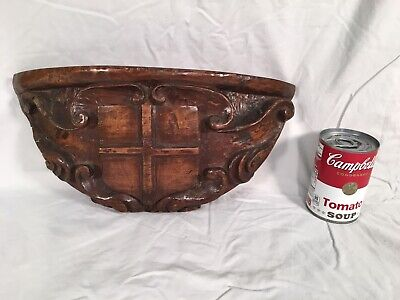 Antique 19th-C. Hand Carved Corbel Pediment Sconce Walnut Wood Crest Salvage