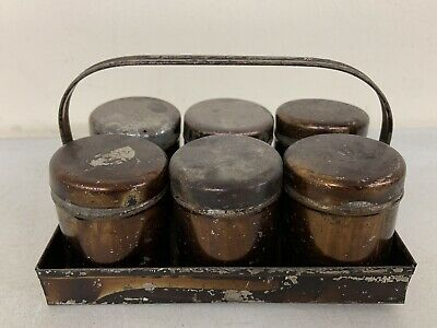 Antique Set of 6 Toleware Spice Tins and Caddy - Stenciled Lettering