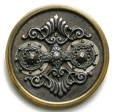 Antique Victorian Metalwork Button Fancy Brass Steel Pewter Design - 1 & 3/8""