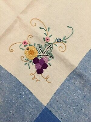 Vintage Ecru and Blue Linen Hand-Embroidered Floral Tablecloth Square