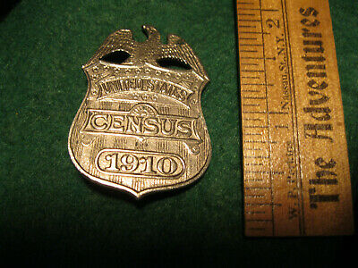 Old vintage 1910 United States Census Shield Badge nickel plated Bald Eagle Pin