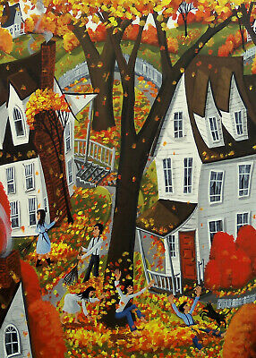 Giclee ACEO folk art Autumn Day Fun raking leaves jumping in dog kids Fall leaf