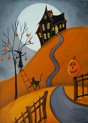 Giclee ACEO folk art Halloween pumpkin decorations decorate witch house cat path