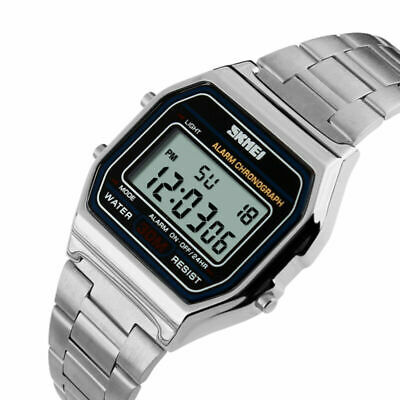 SKMEI Mens Square Watch Stainless Steel Multi-function Sports Digital Wristwatch