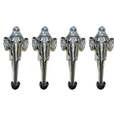 "4 large elephant DOOR handle pull brass hollow old style SILVER PLATED 13"" B"