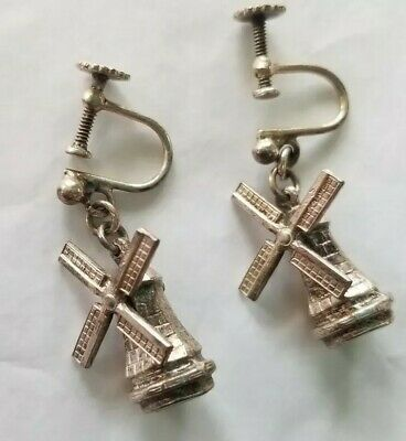 40'S Screw-Back Silver Tone Earrings With Tiny Working Dutch Windmills