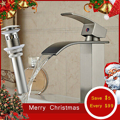 One Hole Single Handle Waterfall Brushed Nickel Bathroom Sink Faucet Mixer Tap