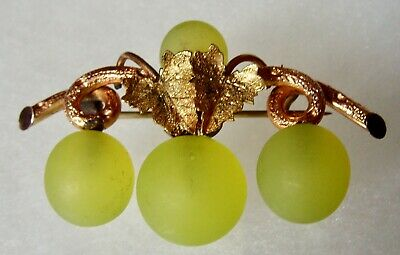 Antique Victorian Gold Filled Leaf And Vine Green Glass Grapes Pin