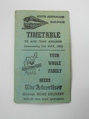 1965 South Australian Railways Timetable Blackwood To Adelaide / Sar Trains