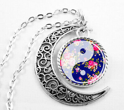 Vintage Ying Yang Art Pendant Choker Jewelry Silver Moon Necklace For Women Dres