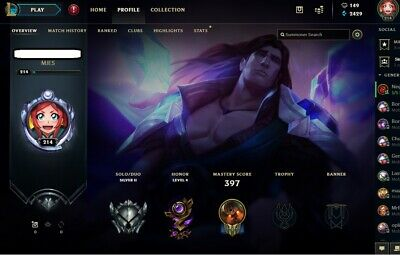 NA League of Legends Account 214 Lvl Silver II 115 Champs 91 Skins 149RP 2429BE