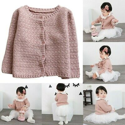 Toddler Baby Girls Warm Knitted Sweater Cardigan Coat Outwear Tops Clothes 0-3Y