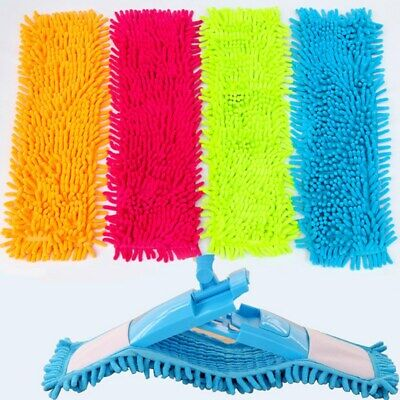 1X Microfiber Flat Mop Head Chenille Refill Rag Replace Cloth Washable Clean Pad