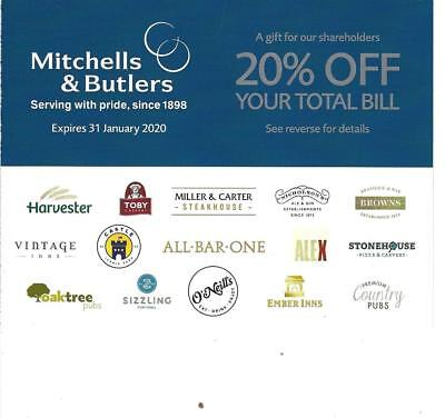 Mitchells & Butlers Voucher 20% Off Total Bill at Harvester, Toby Carvery