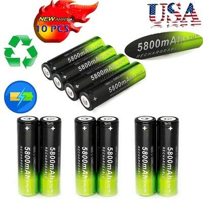 US 10PCS SKYWOLFEYE Rechargeable 5800mAh Li-ion 18650 3.7V Battery Smart Charger