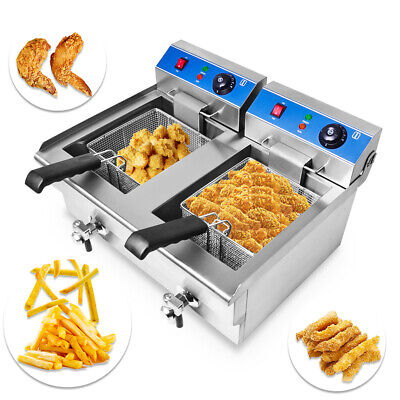 Large 10L*2 Commercial Fryer Electric Twin Basket Double Tank Fish Chips 6KW