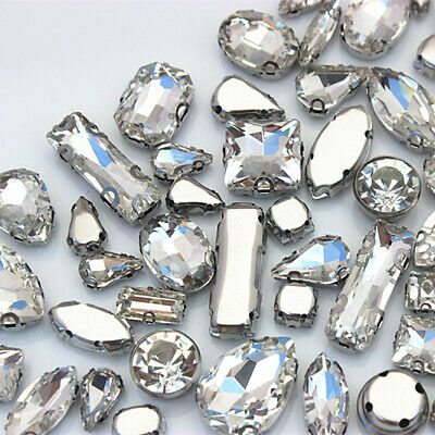 30PCS  Mixed shape crystal glass Stainless steel Claw Rhinestone Sew On ZZ149