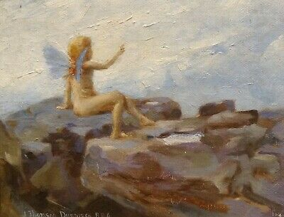 Fine Early 20th Century English Mythical Fairy On The Rocks J. THOMSON DUNNING