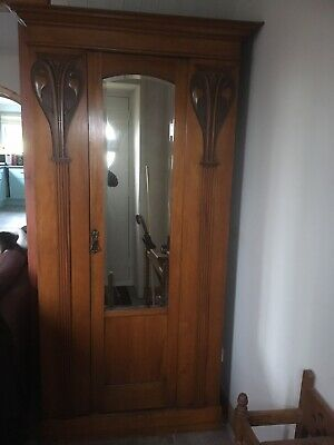 Antique Victorian carved satinwood mirror door wardrobe / hall coat cupboard