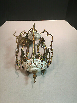 Antique Hanging Lamp Chandelier Spanish Ornate Brass Hall Light with Porcelain