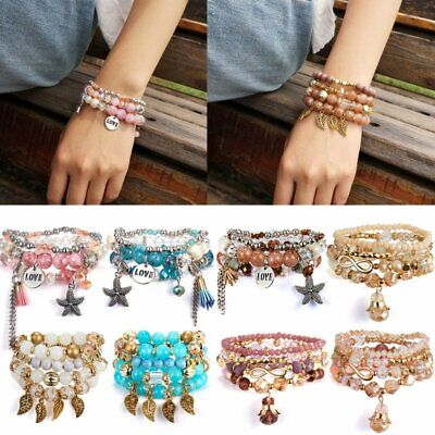 Fashion Women Boho Multi-layer Crystal Beads Bohemia Cuff Bracelets Set Bangle