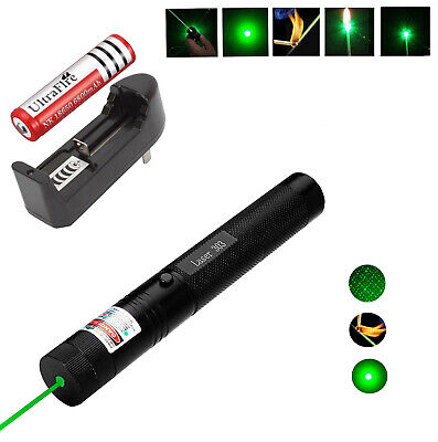 Green Military 532nm 5mw Laser Pointer Lazer Pen Beam 18650 battery Dual Charger