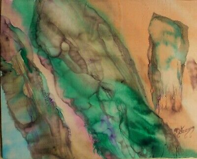 Silk Painting of Standing Stones,Abstract,Pagan,Wiccan,on pure silk,mounted,new